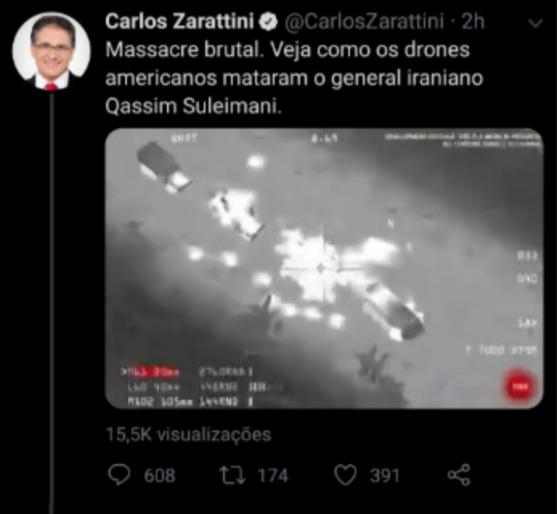 Deputado do PT posta vídeo de game como se fosse ataque que matou general iraniano