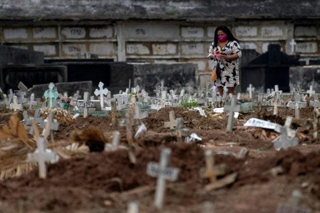 Cemitério com covas de mortos por Covid-19.