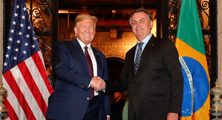 Bolsonaro e o presidente dos EUA Donald Trump