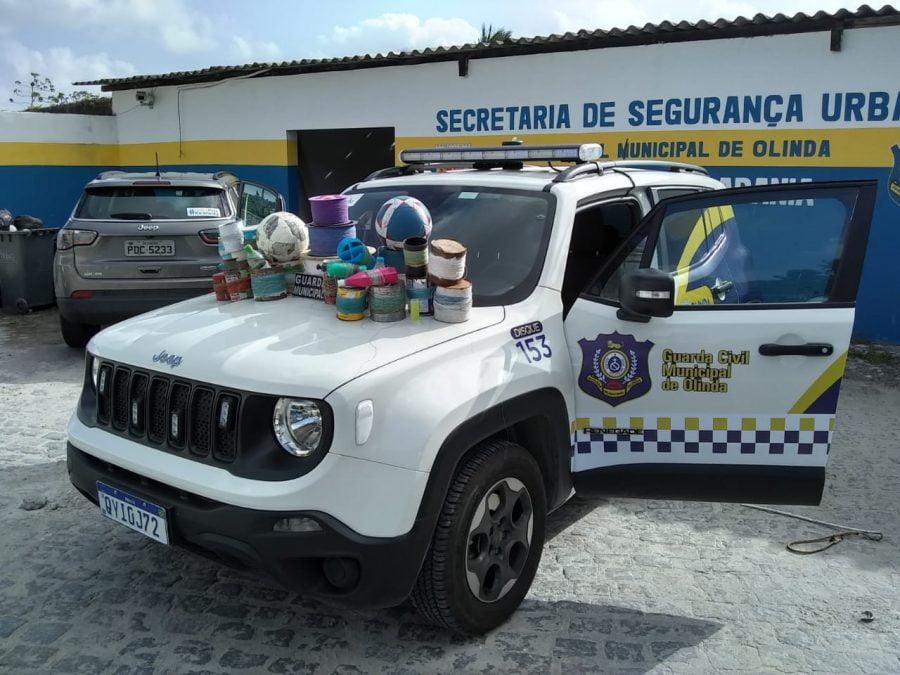 Guarda Municipal de Olinda apreende rolos de linhas de cerol e alerta jovens sobre o perigo do material