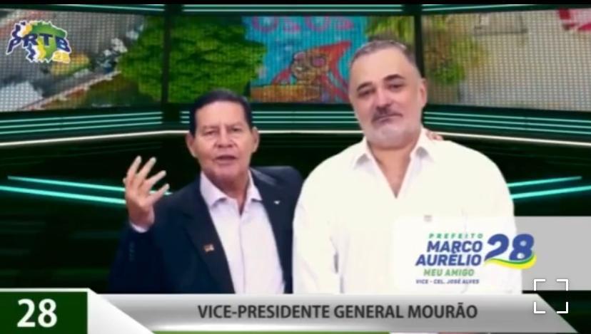 Marco Aurélio (PRTB) divulga vídeo com Mourão pedindo voto
