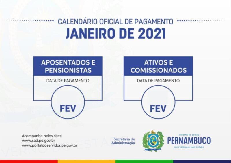 Confira o calendário de pagamento do salário de janeiro dos servidores estaduais de Pernambuco