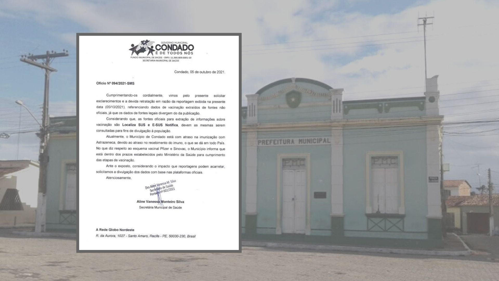 """Prefeitura do Condado avisa que informação de reportagens sobre vacinação contra Covid no município """"não foram extraídas de bases oficiais"""""""
