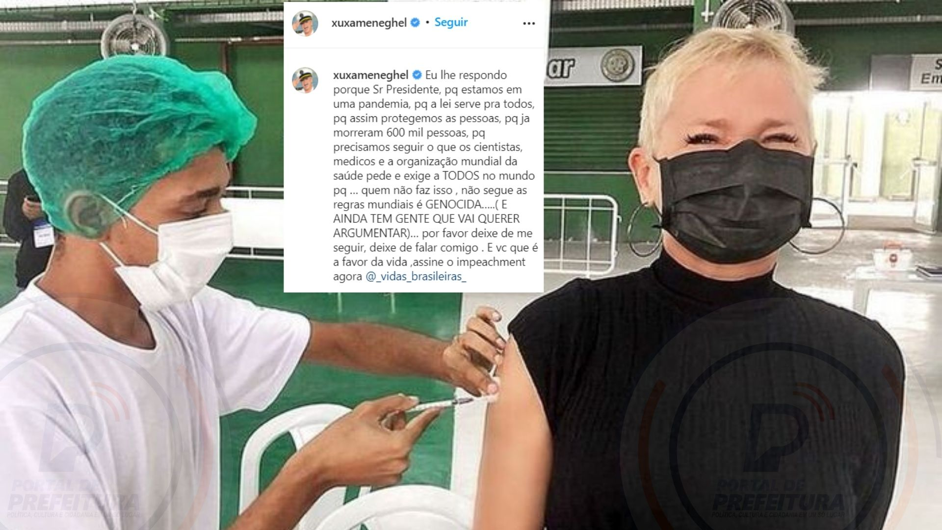 "Xuxa volta a protestar contra Bolsonaro nas redes sociais e pede para que ""deixem de segui-la� quem é a favor do presidente"